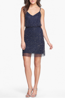 Sequin Mesh Blouson Dress Beaded Art Deco in Navy