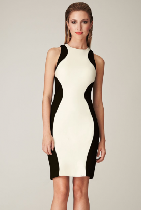 White and Black Two Tone Open Back Colorblock CC316B