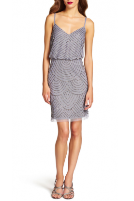 Adrianna Papell Sequin Mesh Blouson Dress Heather Silver Gray