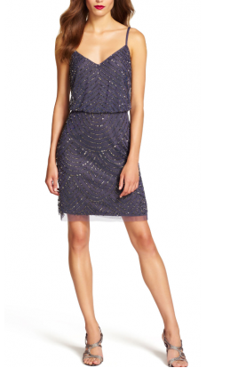 Gunmetal Sequin Mesh Blouson Dress