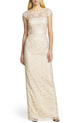 Beautiful Cap Sleeve Lace Gown in Nude