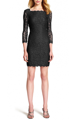 Lace Cocktail Dress Midi in Black