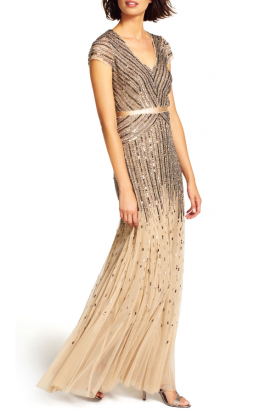 Mesh Cap Sleeve Beaded V-Neck Gown  Nude