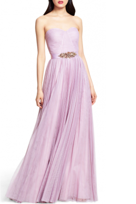 Strapless Tulle Ball Gown Pleated in Lavender