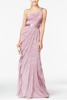 Pink One-shoulder Tiered Chiffon Gown Dress Blush