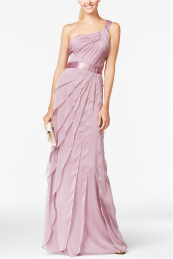 Adrianna Papell Pink One-shoulder Tiered Chiffon Gown Dress Blush