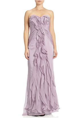 Ruffled Chiffon Dress in Dusty Orchid