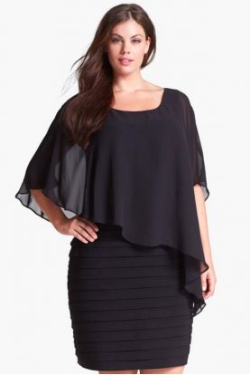 Adrianna Papell Black Chiffon Capelet Dress
