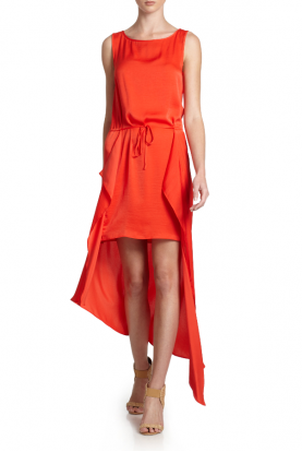 Red Urika Satin High low Hi Lo Dress
