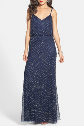 Embellished Blouson Gown in Navy Art-Deco