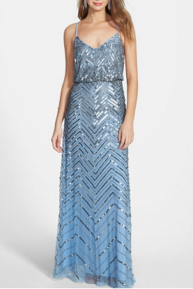 Cross Back Sequin Blouson Gown Beaded Sky Blue