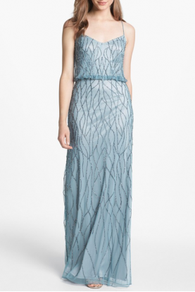 Adrianna Papell Beaded Deco Blouson Gown Pale Blue Gatsby Dress