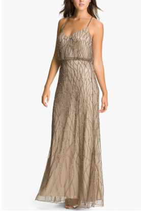 Beaded Mesh Blouson Gown Beige art-Deco Style
