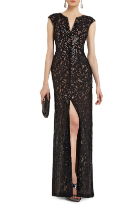 Cain Sequin Applique Evening Dress