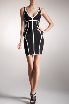 Contrast-Trim Bandage Dress