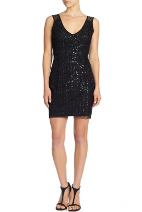 Beaded V-Neck Cocktail Dress