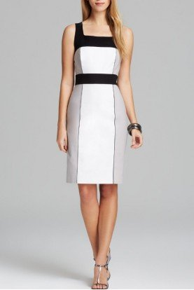 Adrianna Papell White Sleeveless Color Block Dress