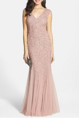 Beaded Cap Sleeve Gown Blush Godets Embellished