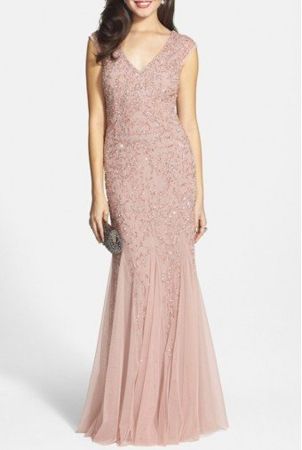 Aidan Mattox Beaded Cap Sleeve Gown Blush Godets Embellished