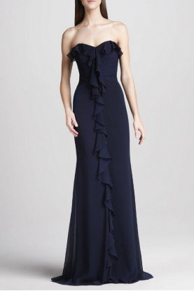 Navy Blue Silk Strapless Ruffle front Gown Dress