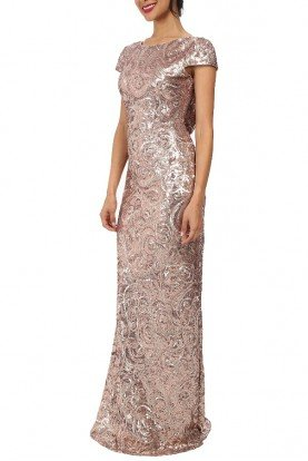 Blush Gold Gown Cap Sleeve Sequin Floral Cowl Back