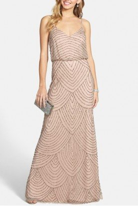 Taupe Pink Long Deco Bead Blouson Gown Dress