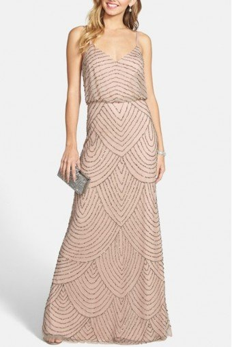 Adrianna Papell Taupe Pink Long Deco Bead Blouson Gown Dress