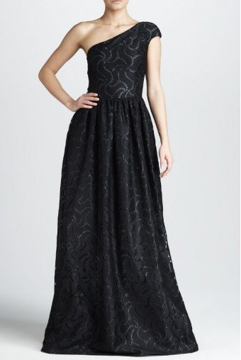 David Meister Signature One-Shoulder Cutout Gown