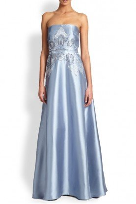 Badgley Mischka Icy Blue Strapless Silky Twill Beaded Evening Gown