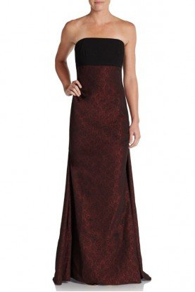 Black Strapless Crepe and Jacquard Gown