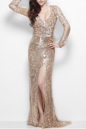 Primavera Couture Long-sleeve evening gown with empire waist