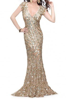Fluid evening sequin gown with fountain skirt