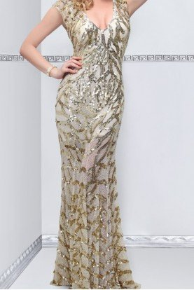 Primavera Couture Fluid silver evening gown with fountain skirt