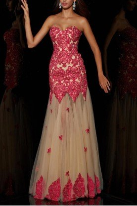 Fuchsia color strapless gown