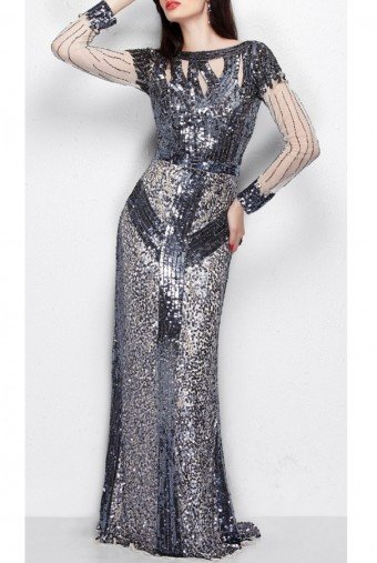 Primavera Couture Primavera 1129 Long Sleeve Sequin Gown