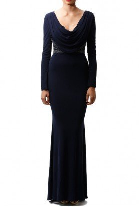 Long Sleeve Beaded Cowl Neck Gown in Navy Blue