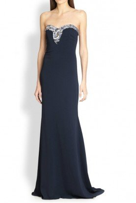 Badgley Mischka Navy Embellished Strapless Evening Dress Gown