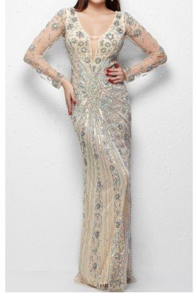 Long-Sleeved Mega Sparkle Evening Gown in Nude 1144