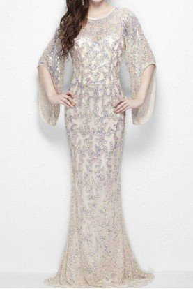 Divinely designed gown sheer layering 9713 in nude