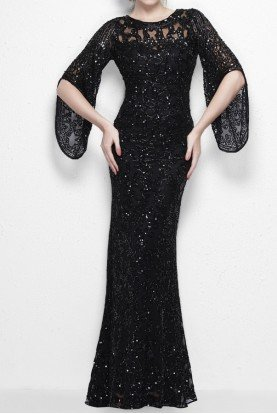 Divinely designed gown with sheer layering in black