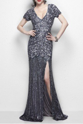 Beautiful gatsby art deco sequin gown 9928 gunmetal