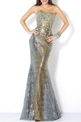Ombre Beaded Mermaid Dress 6394 gold silver metallic
