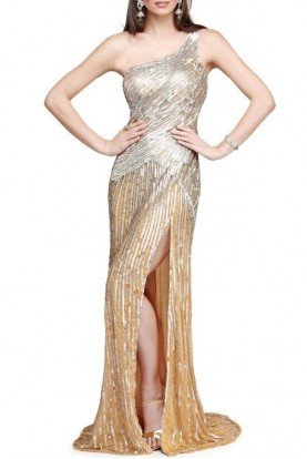 Asymmetrical gown in champagne and silver