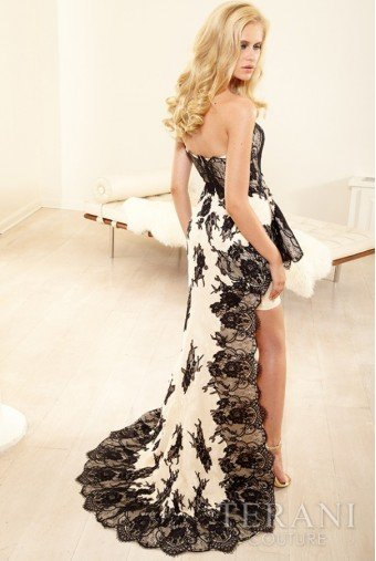 Terani Couture Asymmetrical Cascade Lace Wrapped Gown
