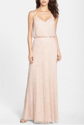 Blush Art Deco Embellished Blouson Gown
