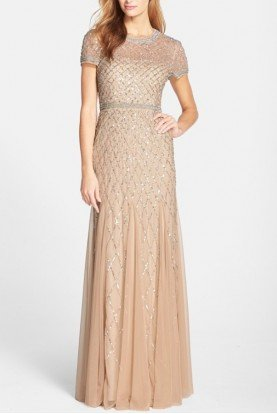Beaded Mesh Gown Champagne