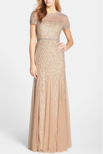 Adrianna Papell Beaded Mesh Gown Champagne