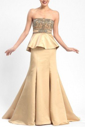 W5206 Champagne Gold Evening Peplum Gown Dress