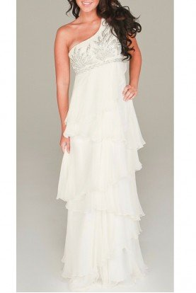 Aidan Mattox White Sequined Tiered Bridal Gown Dress