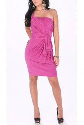 Aidan Mattox One Shoulder Jersey Dress